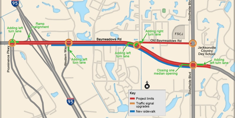 Roadway Changes on Baymeadows Road